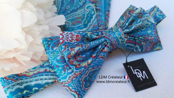Noeud-papillon-bleu-azur-mariage-homme-pochette-ceremonie-soiree-Herblay-ldmcreateur