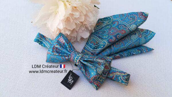 Noeud-papillon-bleu-pochette-homme-chic-wedding-style-Herblay-ldmcreateur