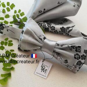Noeud-papillon-gris-perle-noir-smoking-soiree-mariage-homme-fleuri-Loisy-ldmcreateur