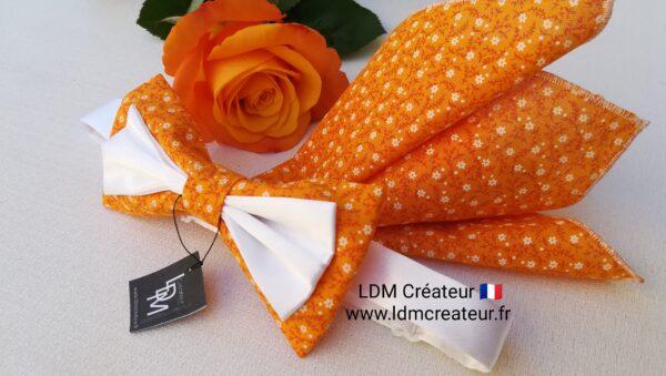 Noeud-papillon-orange-blanc-liberty-mariage-marie-pochette-cravate-accessoire-Cotignac-ldmcreateur
