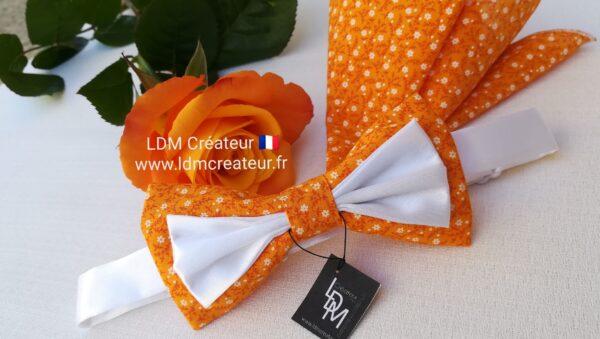 Noeud-papillon-orange-blanc-marie-ceremonie-liberty-chic-mariage-Cotignac-ldmcreateur