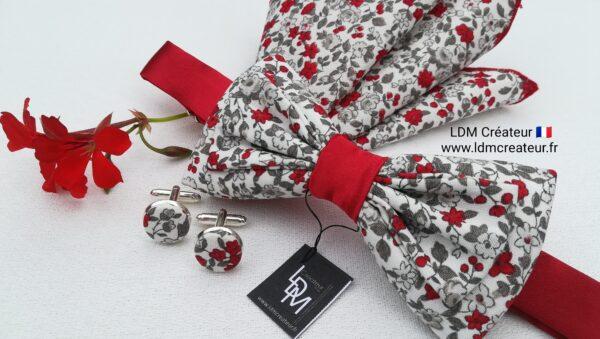 noeud-papillon-liberty-rouge-gris-blanc-homme-mariage-fleuri-Boncourt-ldmcreateur