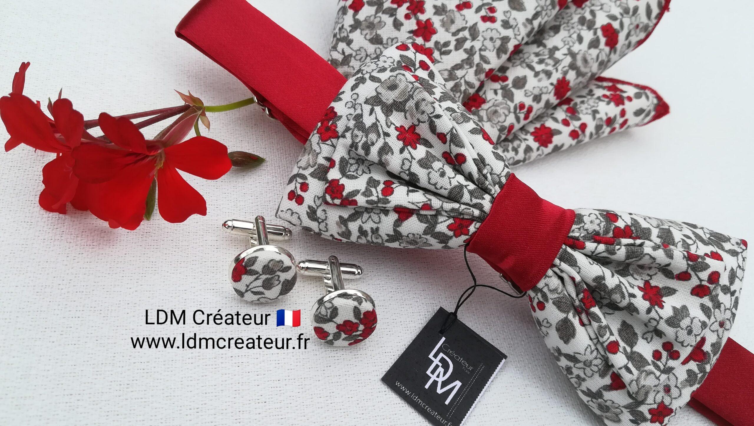 noeud-papillon-mariage-rouge-blanc-fleuri-ceremonie-champetre-Boncourt-ldmcreateur