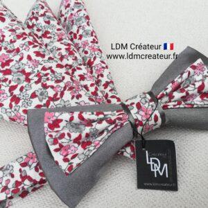 Noeud-papillon-rose-rouge-gris-blanc-liberty-mariage-pochette-homme-Montresor-ldmcreateur