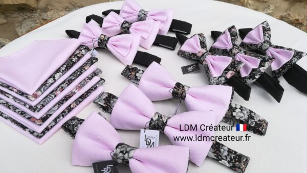 Cortege-mariage-rose-gris-noeud-papillon-liberty-champetre-homme-style-ldmcreateur