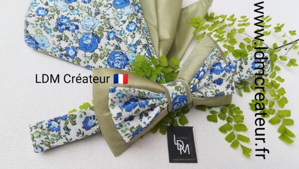 Noeud-papillon-mariage-cérémonie-homme-stylé-chic-vert-bleu-liberty-champetre-occitanie-ldmcreateur