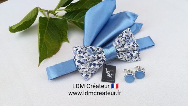 Boutons-manchettes-noeud-papillon-bleu-ciel-blanc-boheme-chic-champetre-mariage-Quincy-ldmcreateur