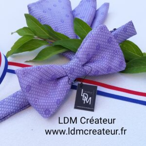 Noeud-papillon-homme-ceremonie-mariage-parme-lilas-soie-élégance-chic-pochette-style-Yvetot-ldmcreateur
