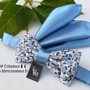 Noeud-papillon-homme-mariage-bleu-ciel-blanc-liberty-chic-champetre-pochette-Willer-ldmcreateur
