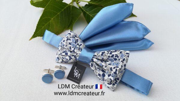 Noeud-papillon-boutons-manchettes-homme-mariage-bleu-ciel-liberty-blanc-marie-cortege-Quincy-ldmcreateur