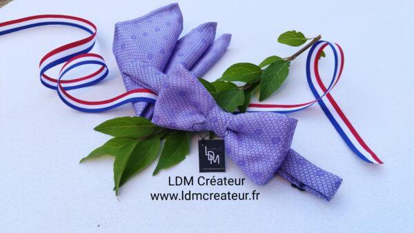 Noeud-papillon-homme-mariage-parme-lilas-mauve-pochette-ceremonie-chemise-costume-Yvetot-ldmcreateur