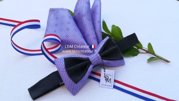 Noeud-papillon-mariage-homme-parme-pochette-elegance-ceremonie-lilas-soie-original-creation-Urville-ldmcreateur