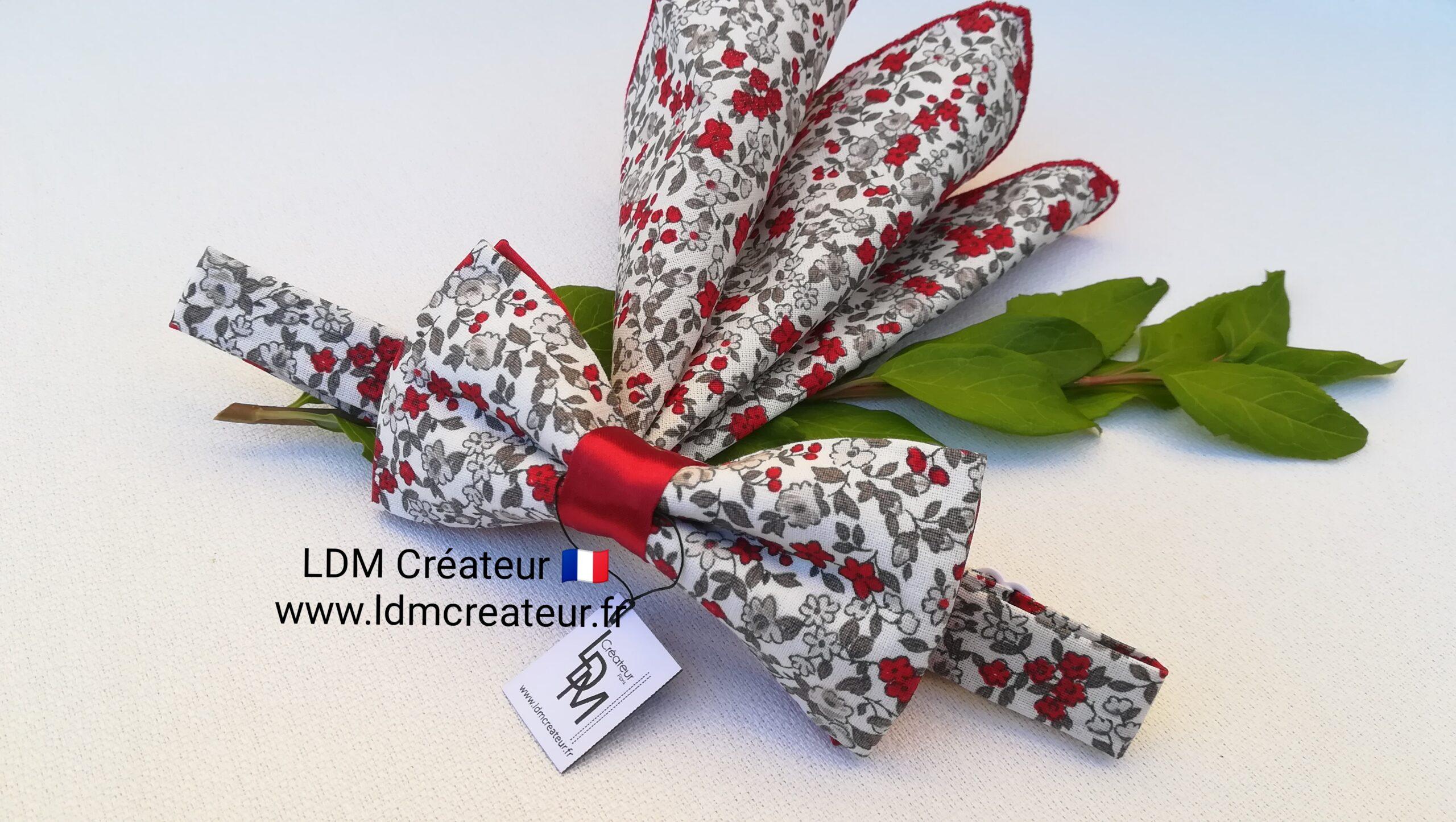Noeud-papillon-rouge-grenat-mariage-liberty-champetre-fleuri-pochette-costume-marie-homme-Urcy-ldmcreteur